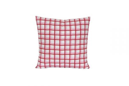 Zoe pink and red Grid Cushion