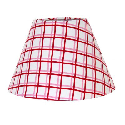 Zoe pink/red grid lampshade