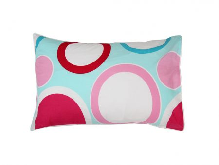 Zoe aqua/red/white/pink pillowcase