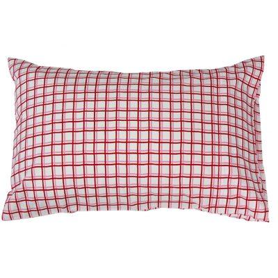 Zoe red/pink/white check cotton pillowcase