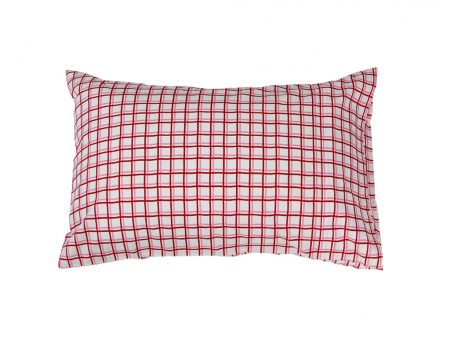 Zoe red/pink/white check cotton pillowcase