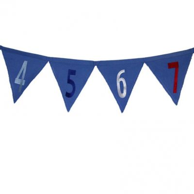 Blue bunting with red, blue & silver appliqued numbers