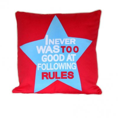 Red square cushion with light blue star