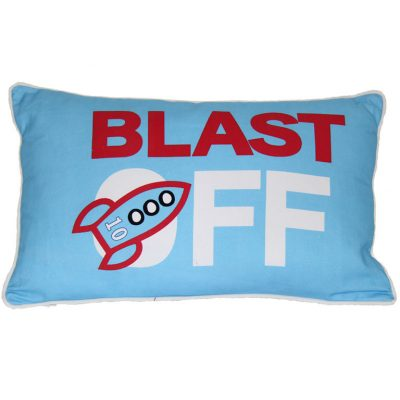 Light blue cushion with Blast Off print wording and rocket