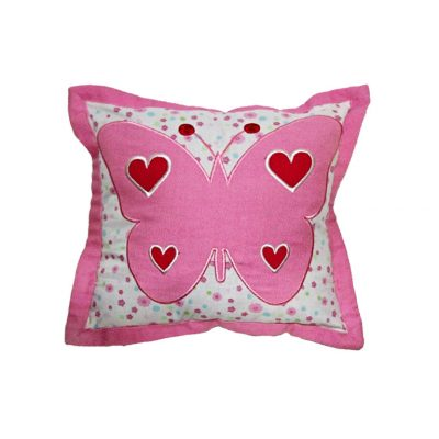 Candy pink & white floral cushion with pink/red butterfly