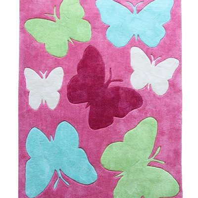 Candy floss pink shortpile rug with light blue, lime green, pink & white butterflies