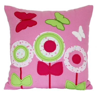 Candy pink cushion with flowers and butterflies