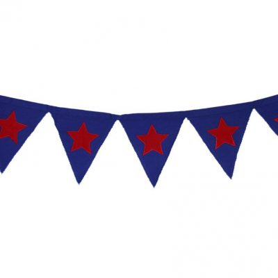 Blue bunting with red appliqued stars