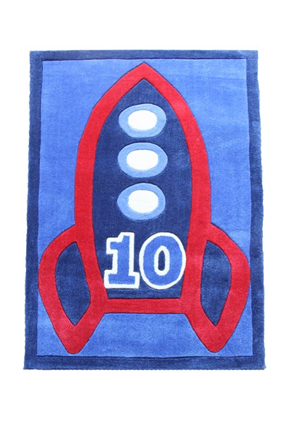 Red, blue and white rectangular shortpile rug with a rocket