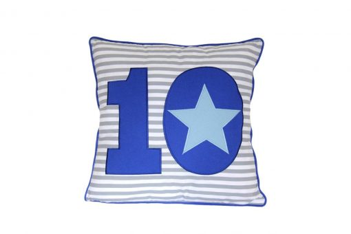 Grey & white striped square cushion with blue appliqued 10
