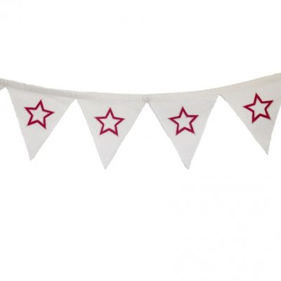 White bunting with red appliqued stars