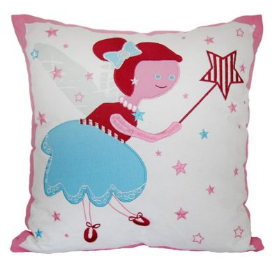 Pink & white cushion with Tinkerbell fairy