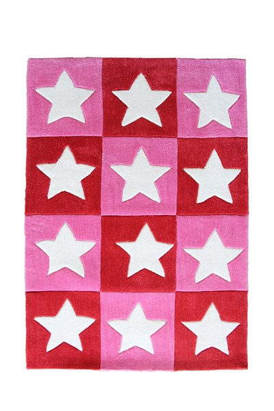 Pink and red blocks with white star shortpile rug