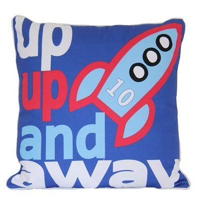 "Dark blue square cushion with rocket and ""up up and away"" wording"