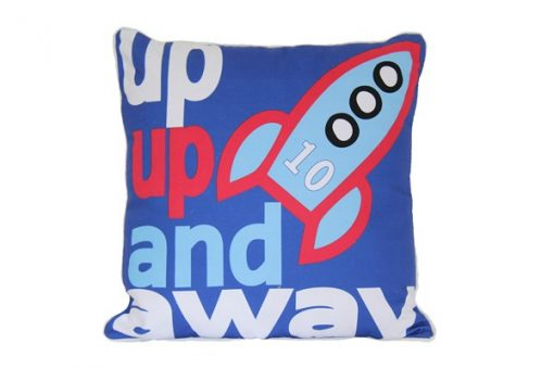 """Dark blue square cushion with rocket and """"up up and away"""" wording"""