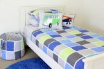 Tom quilt cover & sheeting, Combi Van & Vintage Plane cushions, Vintage Blue rug