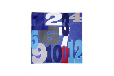 Red, blue, white & grey numeral canvas