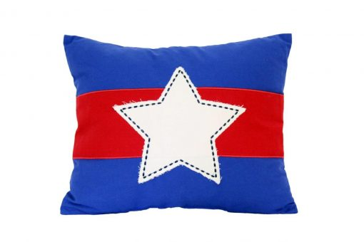 Mid blue cushion with applique white star over red stripe