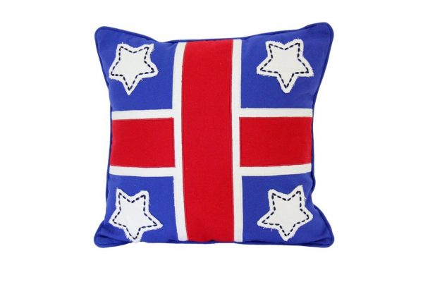 Mid blue cushion with appliqued red cross and white stars