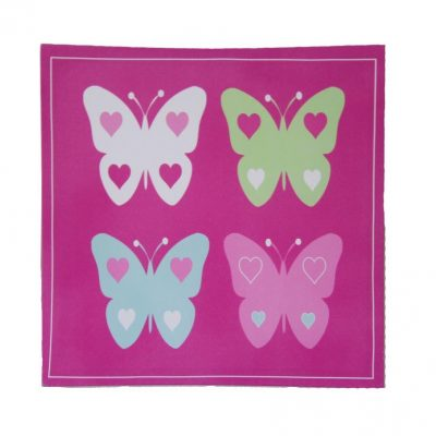 Pink canvas with candy pink, lime green, white & turquoise butterflies