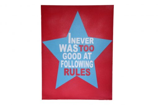 Red canvas with light blue star