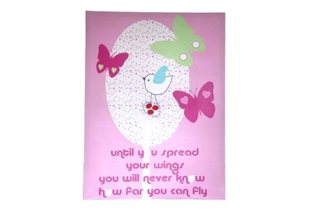 Candy pink canvas with pink & lime green butterflies