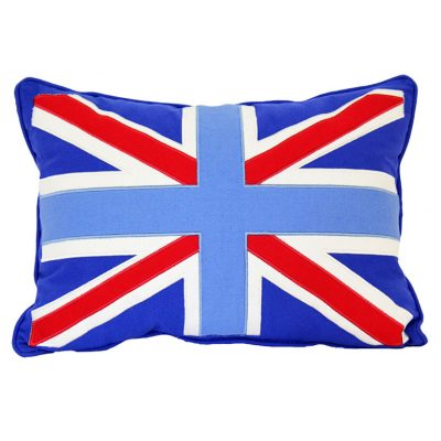 Mid blue cushion with appliqued Union Jack flag