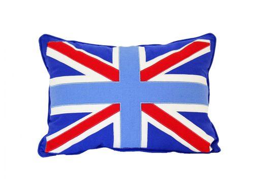 Mid blue cushion with appliqued Union Jack flag