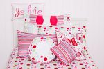 Lucy spot quilt cover with Ruffle, Stripe and Yeah Rite cushions