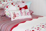 Lucy candy stripe quilt cover & comforter with Yeah Rite and Ruffle cushions