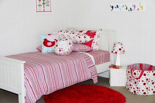 Lucy stripe with regal red rug & cushions
