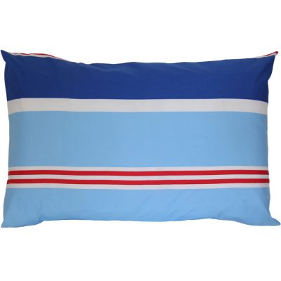 Nautical mid blue, light blue, red and white striped pillowcase