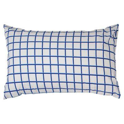 Nautical blue/white check cotton pillowcase