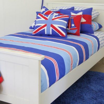 Nautical red white & blue stripped quilt doona cover