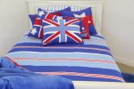 Nautical quilt cover & sheeting with blue throw and boys cushions