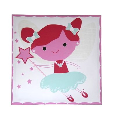 White canvas with red, pink & turquoise Tinkerbell fairy