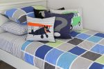 Tom quilt cover & sheeting, Combi Van, Vintage Plane & Question Mark cushions