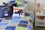 Tom quilt cover & sheeting, Vintage Plan, Question Mark & Combi Van cushions
