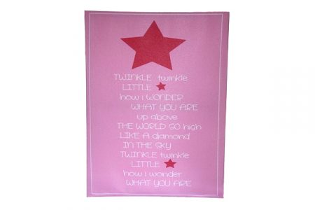 Candy pink canvas with pink star and white Twinkle Little Star wording