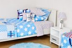 Wills Star quilt cover, sheeting & comforter with Compass cushion & Sea Blue rug