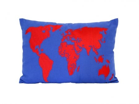 Mid blue cushion with red appliqued world map