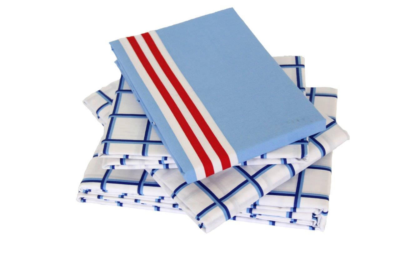 Nautical blue/white grid sheeting and striped pillowcase