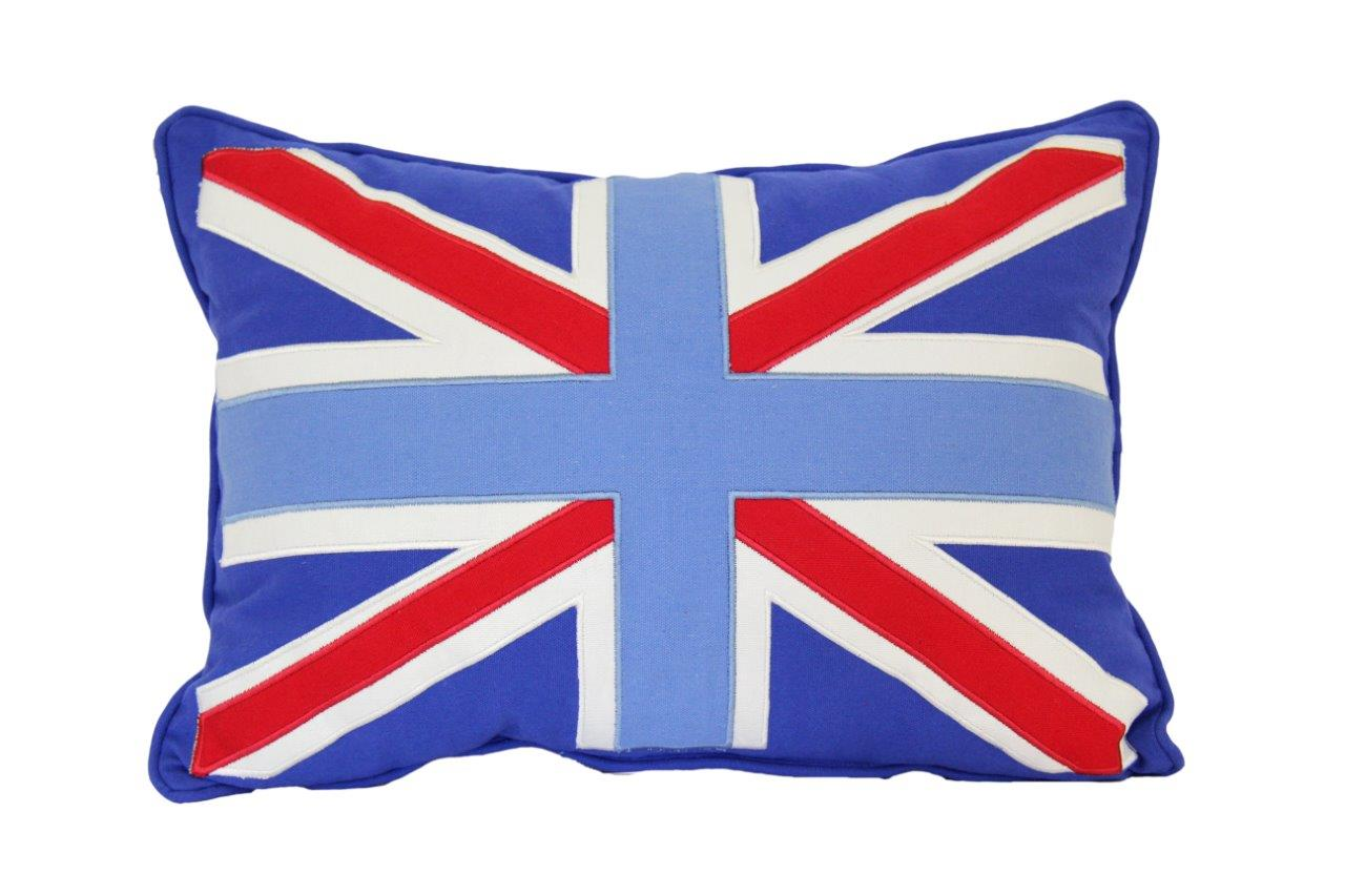 Mid blue cushion with light blue/red/white Union Jack
