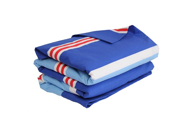 Nautical red white & blue striped quilt cover