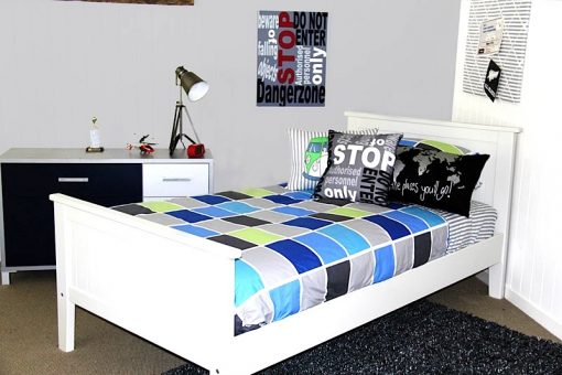 Tom grey blue & green boys quilt cover, Dangerzone cushion and canvas and gunpowder grey rug