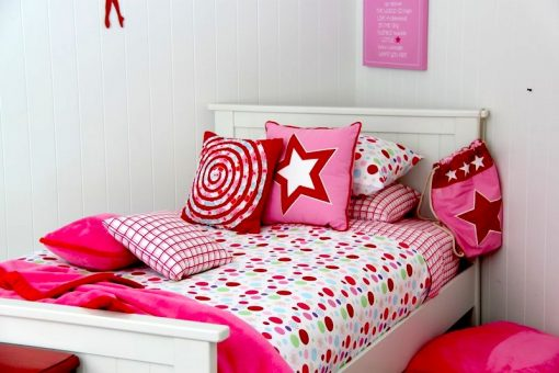 Lucy quilt cover with pink fleece throw & girls cushions