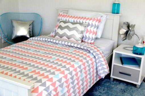 Evie Quilt Cover, Molly sheeting, Silver Chevron cushion, Sea Blue rug