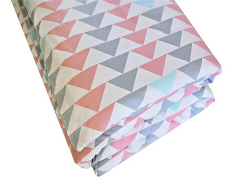 Evie pink, grey & turquoise triangle quilt cover