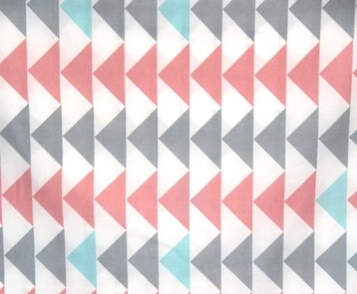 pink, grey & aqua triangle fabric of the Evie girls quilt cover