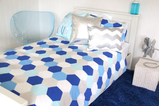 Molly blue, aqua and silver Quilt Cover, Silver Chevron and Silver Bling cushions, Vintage Blue shagpile rug